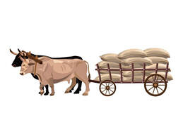 Yoked Oxen Pulling a Loaded Cart - 123RF Image