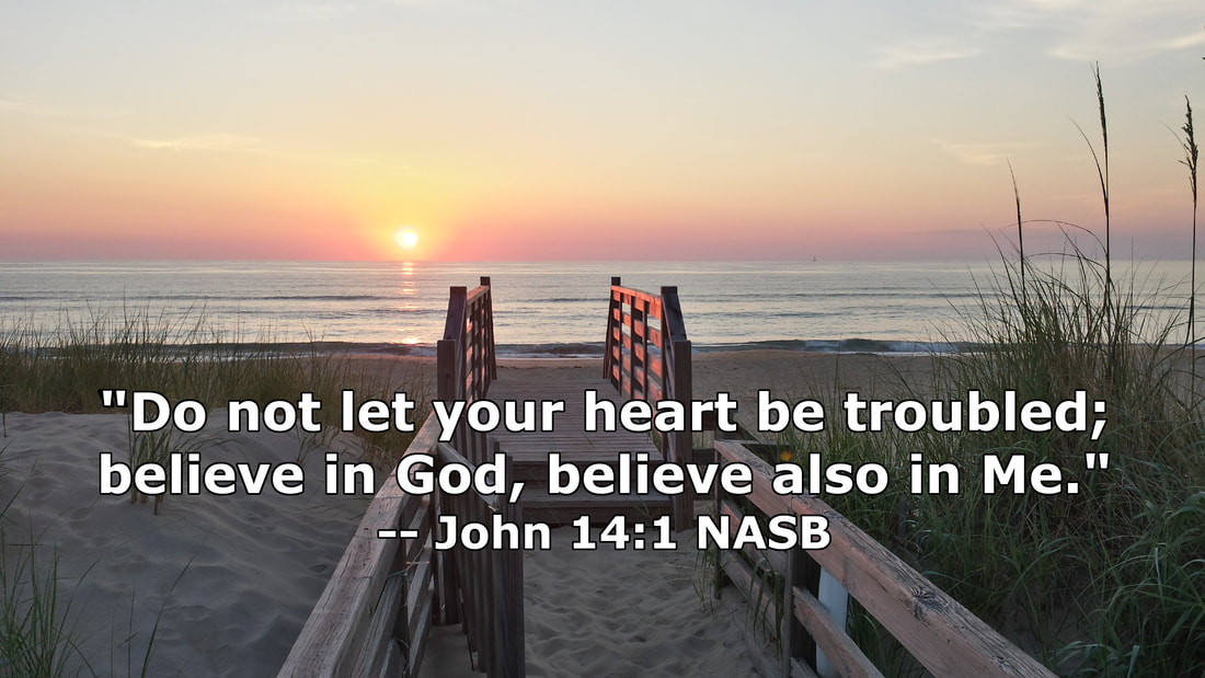 Nags Head Sunrise with John 14:1 - Photo by Whitney V. Myers